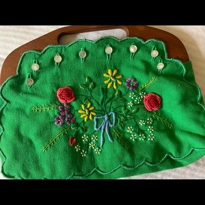 Vintage embroidered wood handle bag